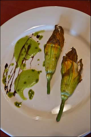 bacalao stuffed zucchini flowers