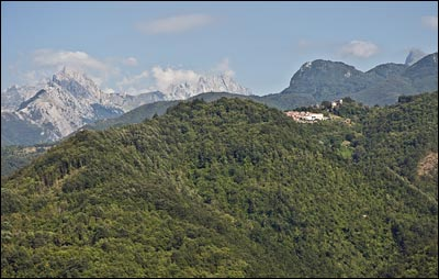 lunigiana village and mountains